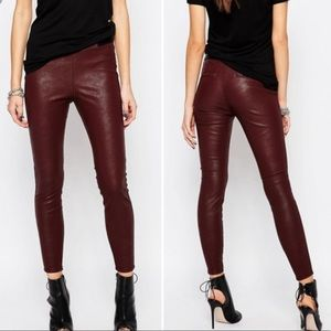 BlankNYC Maroon Vegan Leather Leggings Size 27